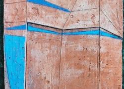 72. Velika kompozicija tla sa plavim poljima 1, terakota rel