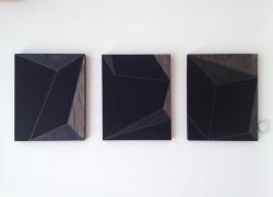 Velike Ahromatske Kompozicije Triptih 50x40 Kombinovana Tehnika 2013