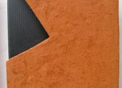kompozicija ravni 2, terakota na platnu, 2008, 20x16 cm