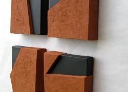 kompozicija ravni, terakota na platnu, 2008, 20x16 cm poliptih