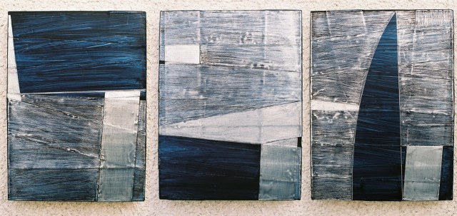 ritmovanje, aluminijum i akril, 2005, 33x24 cm
